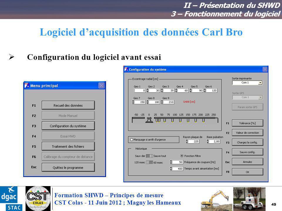 49 Formation SHWD – Principes de mesure CST Colas - 11 Juin 2012 ; Magny les Hameaux Logiciel dacquisition des données Carl Bro II – Présentation du S