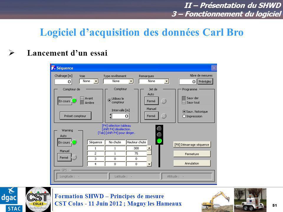 51 Formation SHWD – Principes de mesure CST Colas - 11 Juin 2012 ; Magny les Hameaux Logiciel dacquisition des données Carl Bro II – Présentation du S