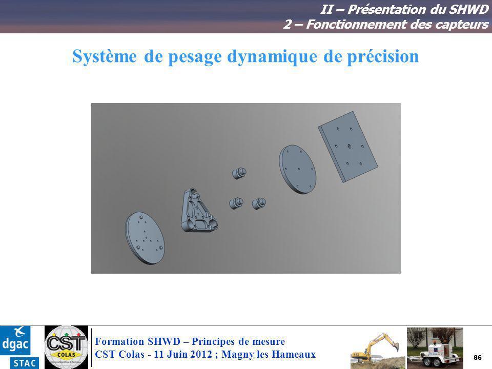 86 Formation SHWD – Principes de mesure CST Colas - 11 Juin 2012 ; Magny les Hameaux Système de pesage dynamique de précision II – Présentation du SHW