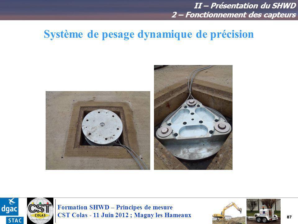 87 Formation SHWD – Principes de mesure CST Colas - 11 Juin 2012 ; Magny les Hameaux Système de pesage dynamique de précision II – Présentation du SHW