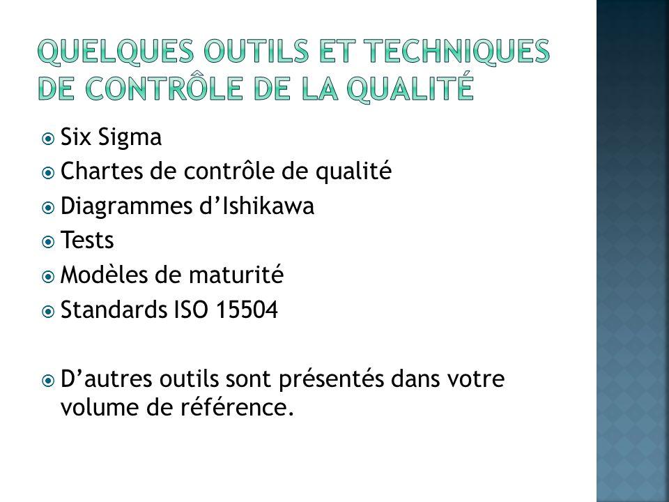 Six Sigma Chartes de contrôle de qualité Diagrammes dIshikawa Tests Modèles de maturité Standards ISO 15504 Dautres outils sont présentés dans votre v