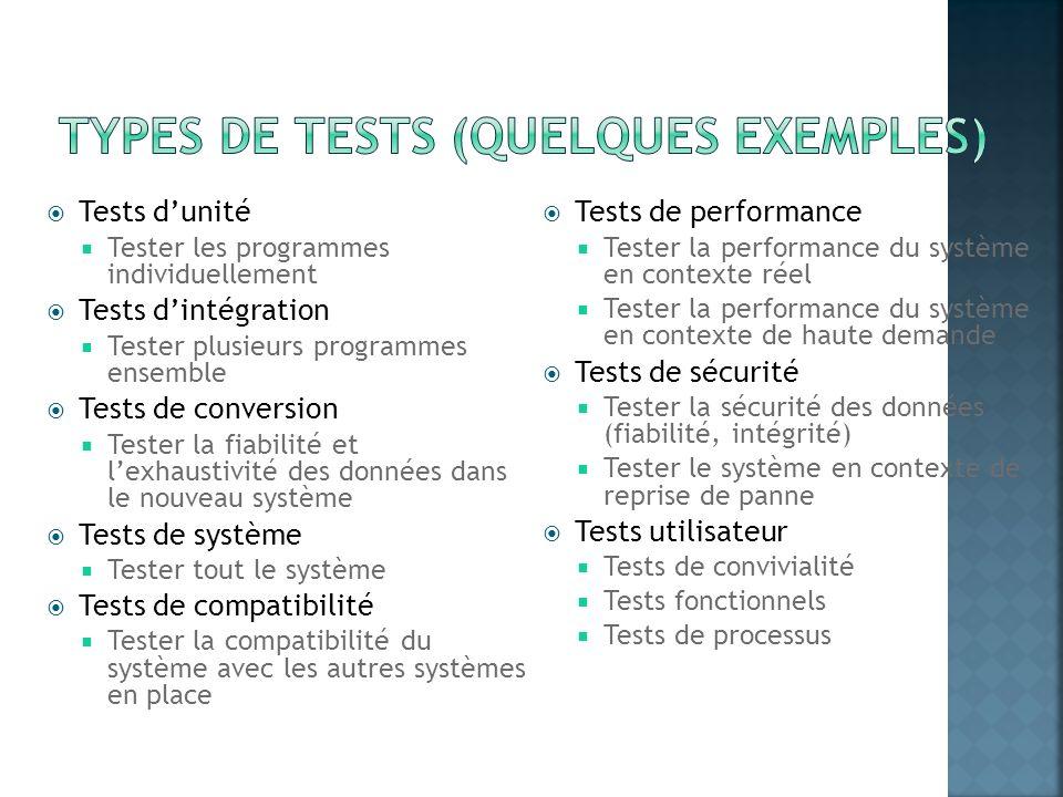 Tests dunité Tester les programmes individuellement Tests dintégration Tester plusieurs programmes ensemble Tests de conversion Tester la fiabilité et