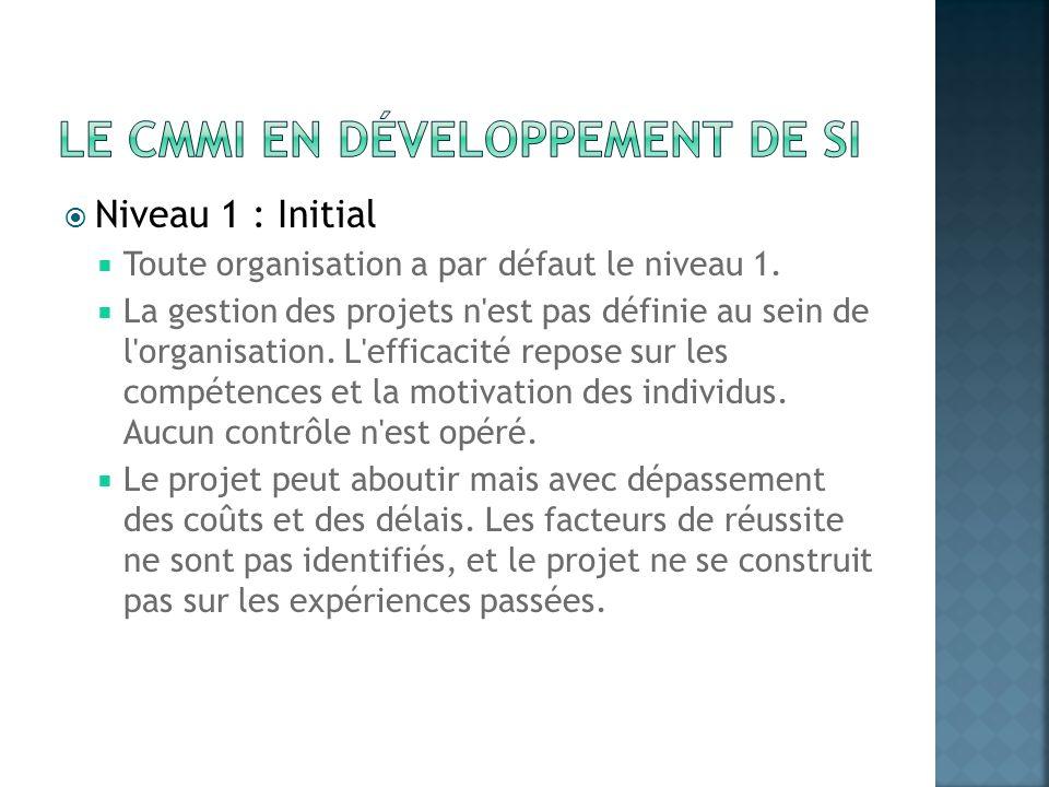 Niveau 1 : Initial Toute organisation a par défaut le niveau 1. La gestion des projets n'est pas définie au sein de l'organisation. L'efficacité repos