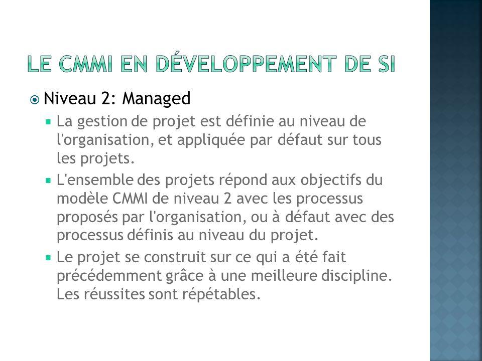 Niveau 2: Managed La gestion de projet est définie au niveau de l'organisation, et appliquée par défaut sur tous les projets. L'ensemble des projets r