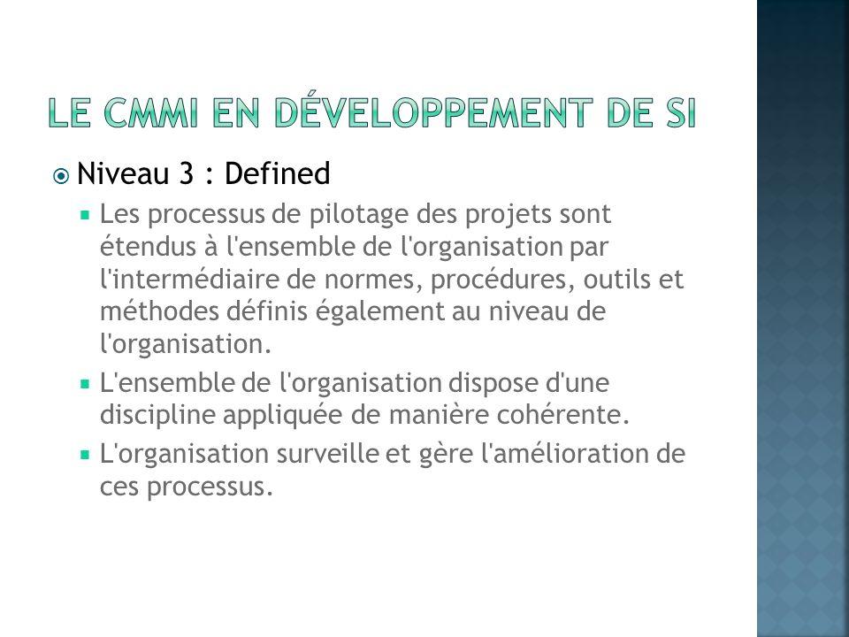 Niveau 3 : Defined Les processus de pilotage des projets sont étendus à l'ensemble de l'organisation par l'intermédiaire de normes, procédures, outils