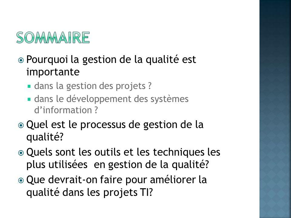 Pourquoi la gestion de la qualité est importante dans la gestion des projets ? dans le développement des systèmes dinformation ? Quel est le processus