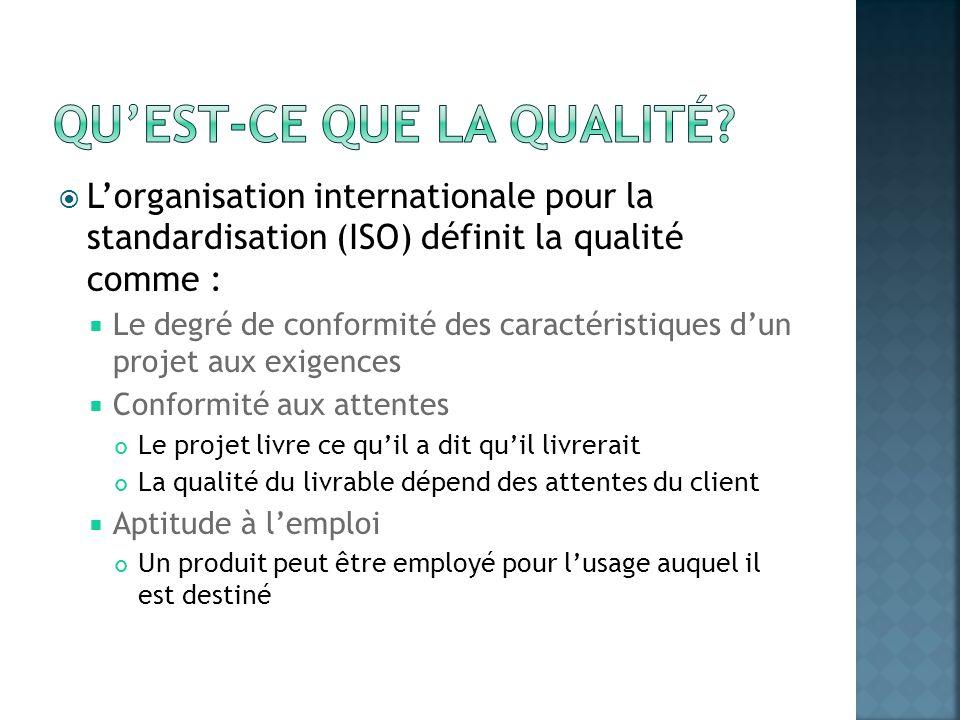 Lorganisation internationale pour la standardisation (ISO) définit la qualité comme : Le degré de conformité des caractéristiques dun projet aux exige