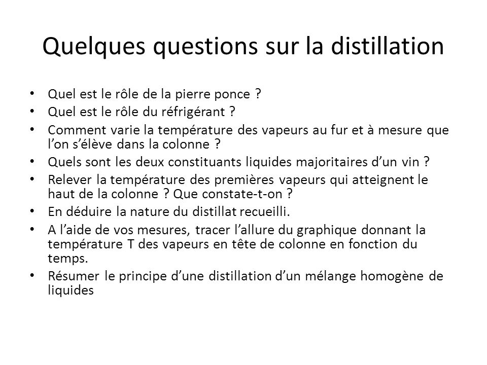 Quelques questions sur la distillation Quel est le rôle de la pierre ponce ? Quel est le rôle du réfrigérant ? Comment varie la température des vapeur