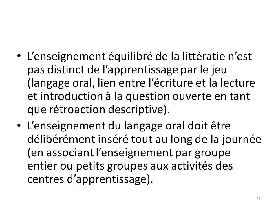 Lenseignement équilibré de la littératie nest pas distinct de lapprentissage par le jeu (langage oral, lien entre lécriture et la lecture et introduction à la question ouverte en tant que rétroaction descriptive).