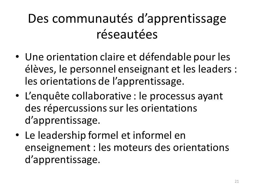 Des communautés dapprentissage réseautées Une orientation claire et défendable pour les élèves, le personnel enseignant et les leaders : les orientations de lapprentissage.