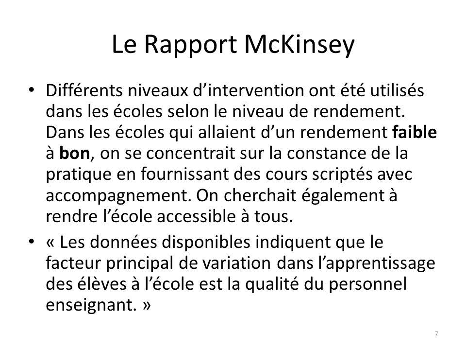 Le Rapport McKinsey Différents niveaux dintervention ont été utilisés dans les écoles selon le niveau de rendement. Dans les écoles qui allaient dun r