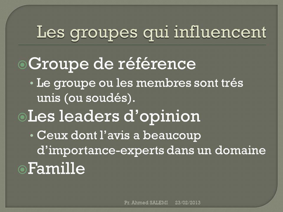 Groupe de référence Le groupe ou les membres sont trés unis (ou soudés). Les leaders dopinion Ceux dont lavis a beaucoup dimportance-experts dans un d
