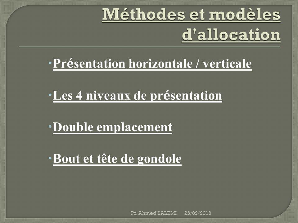 Pr é sentation horizontale / verticale Les 4 niveaux de pr é sentation Double emplacement Bout et tête de gondole 23/02/2013Pr. Ahmed SALEMI