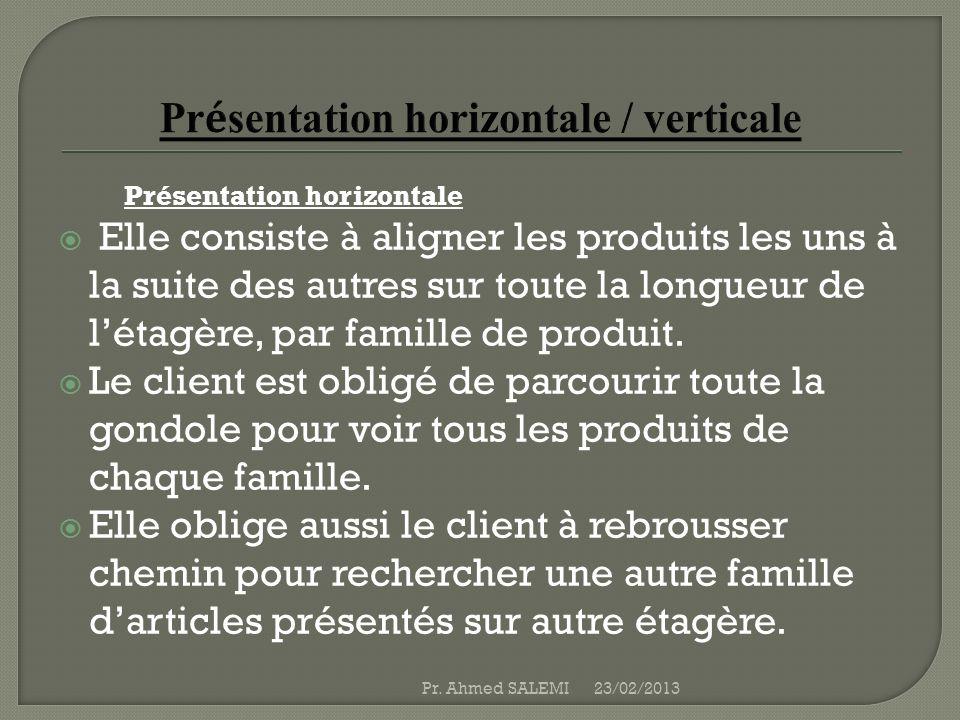 Présentation horizontale Elle consiste à aligner les produits les uns à la suite des autres sur toute la longueur de létagère, par famille de produit.
