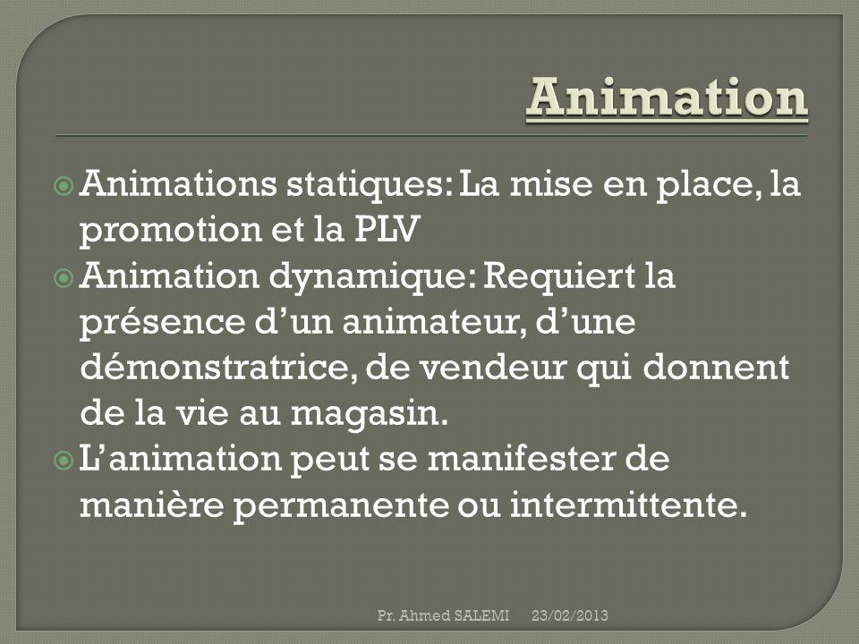 Animations statiques: La mise en place, la promotion et la PLV Animation dynamique: Requiert la présence dun animateur, dune démonstratrice, de vendeu