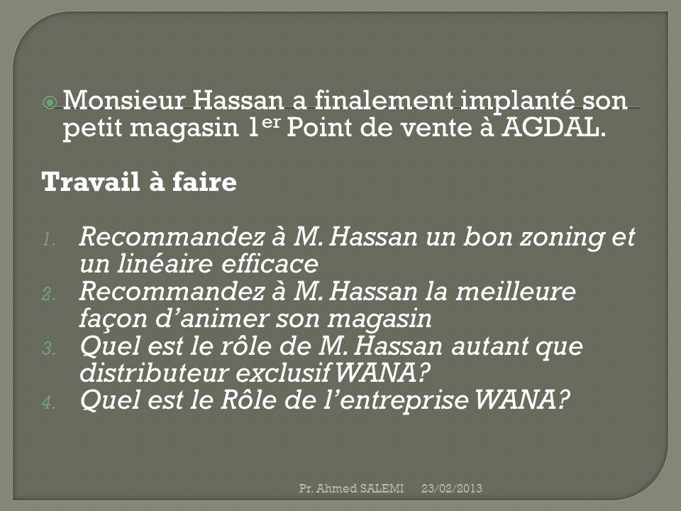 Monsieur Hassan a finalement implanté son petit magasin 1 er Point de vente à AGDAL. Travail à faire 1. Recommandez à M. Hassan un bon zoning et un li