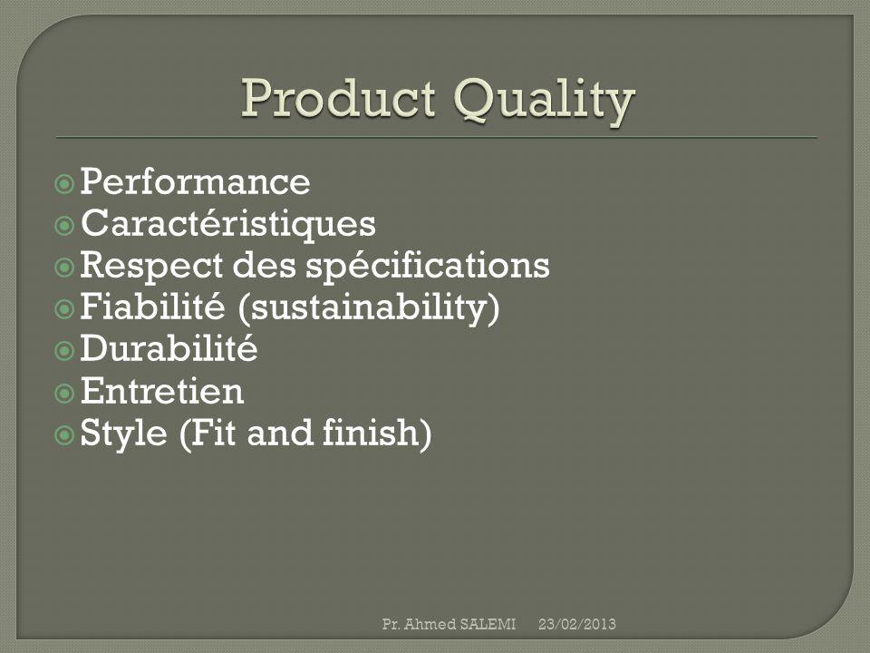 Performance Caractéristiques Respect des spécifications Fiabilité (sustainability) Durabilité Entretien Style (Fit and finish) 23/02/2013Pr. Ahmed SAL
