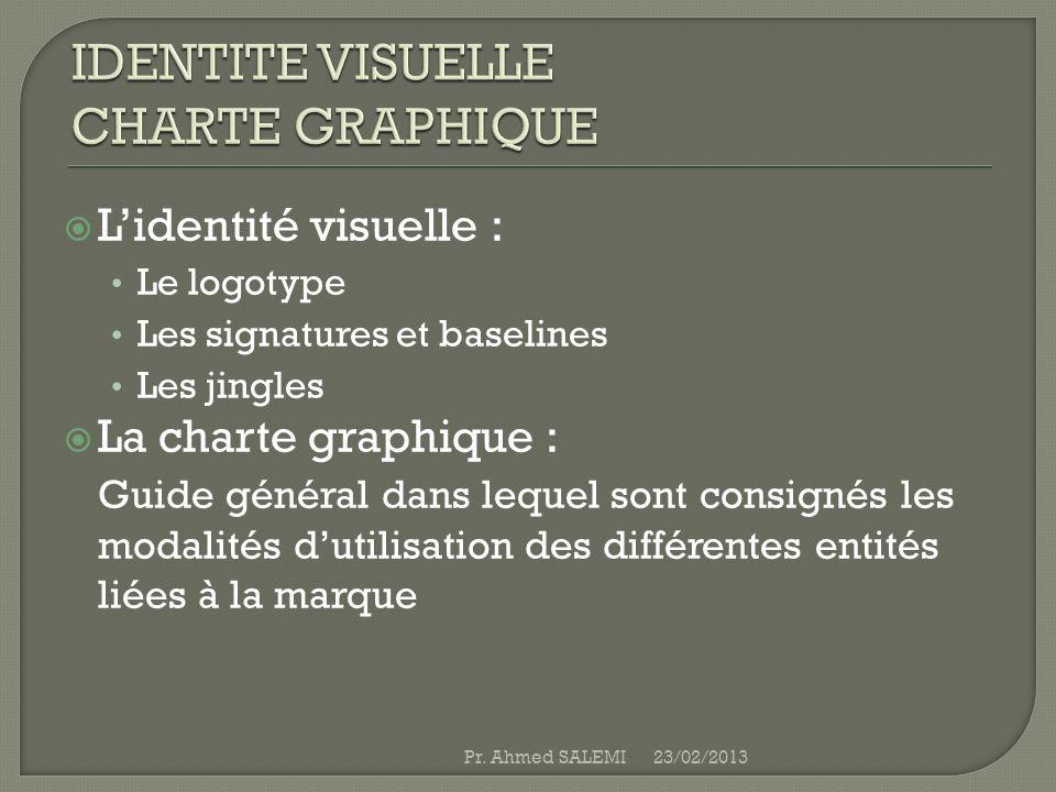 Lidentité visuelle : Le logotype Les signatures et baselines Les jingles La charte graphique : Guide général dans lequel sont consignés les modalités