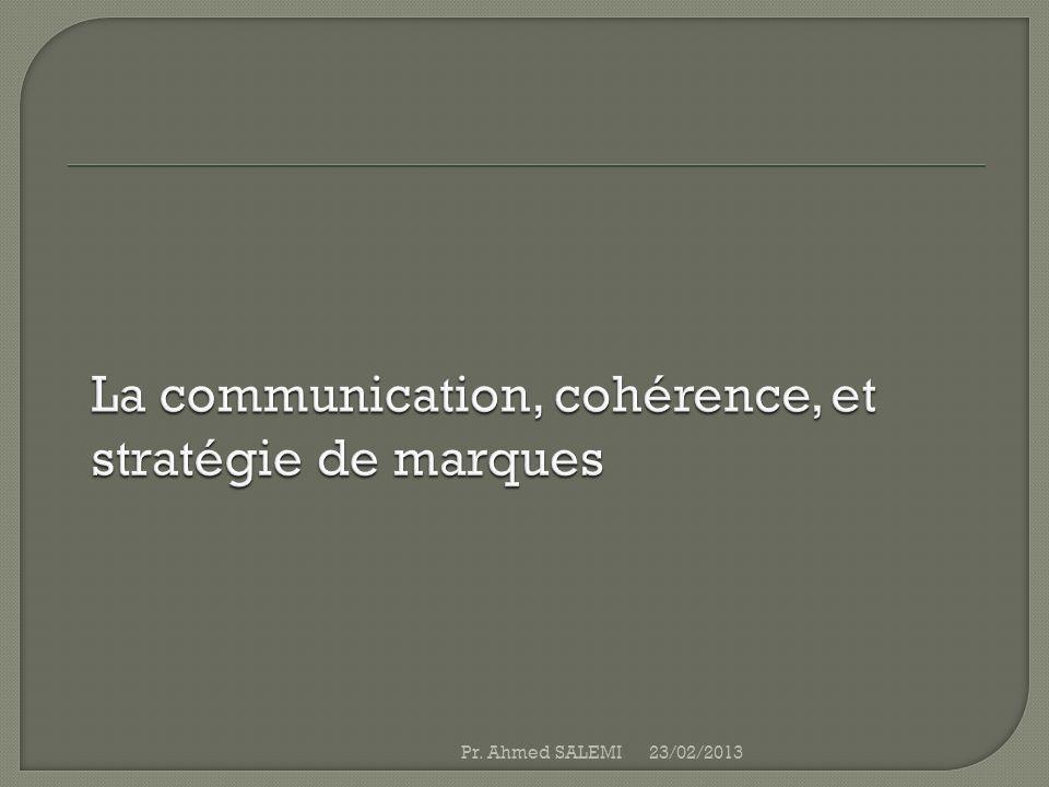 Le marketing est un processus IMC------IM acquisition de clients------ Rétention Communiquer avec et non aux Création de relations durables Chain de valeur----- champ de valeur 23/02/2013Pr.