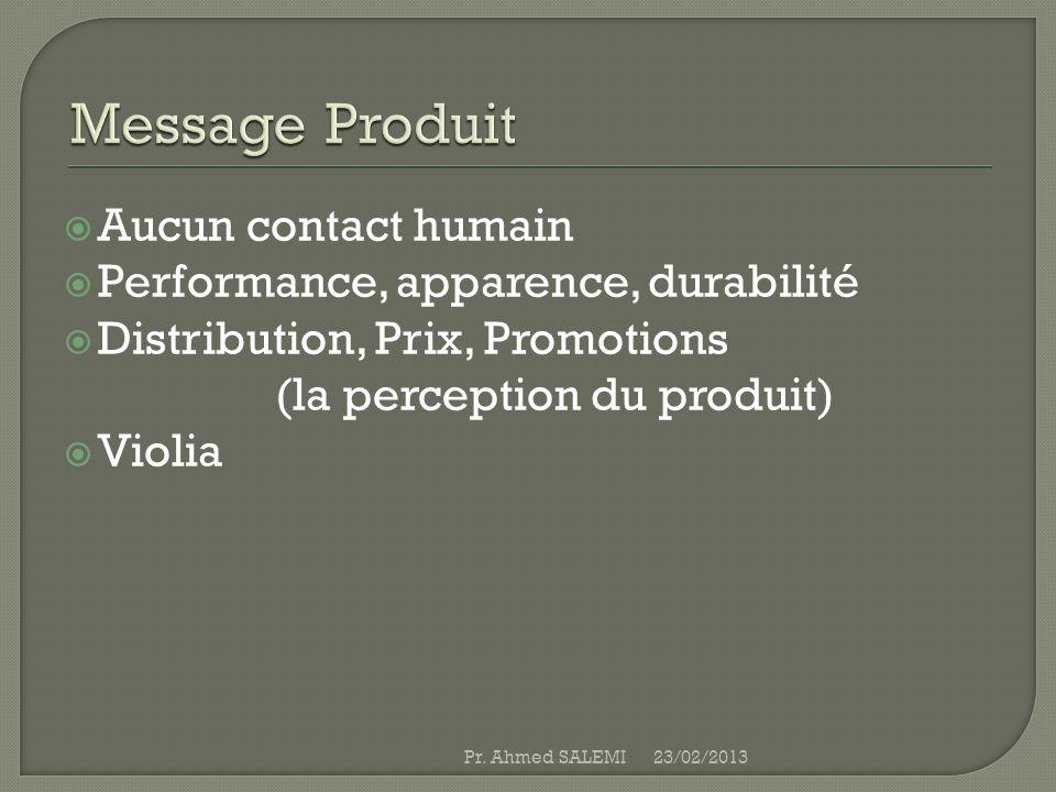 Aucun contact humain Performance, apparence, durabilité Distribution, Prix, Promotions (la perception du produit) Violia 23/02/2013Pr. Ahmed SALEMI