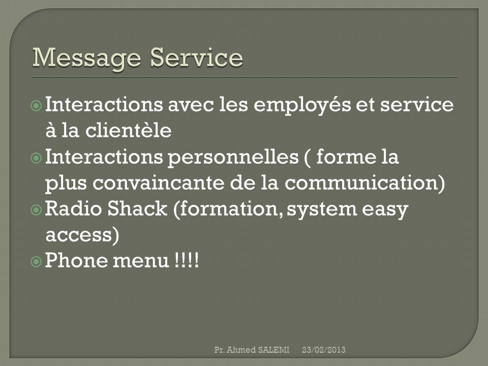 Interactions avec les employés et service à la clientèle Interactions personnelles ( forme la plus convaincante de la communication) Radio Shack (form