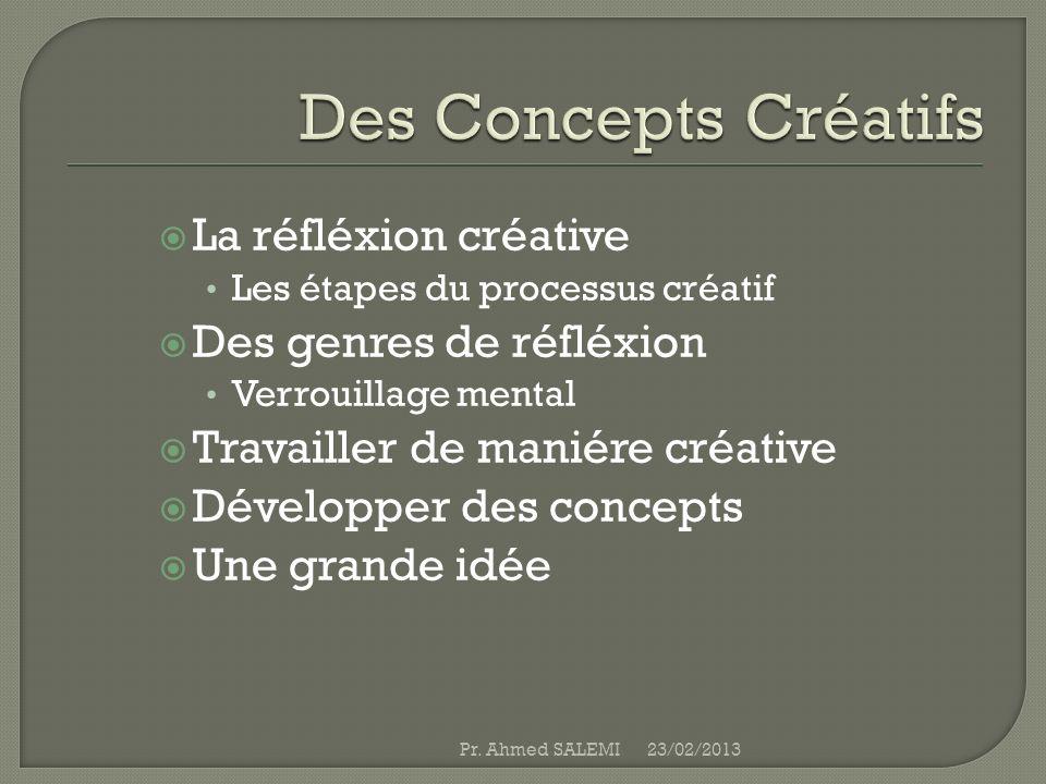 La réfléxion créative Les étapes du processus créatif Des genres de réfléxion Verrouillage mental Travailler de maniére créative Développer des concep