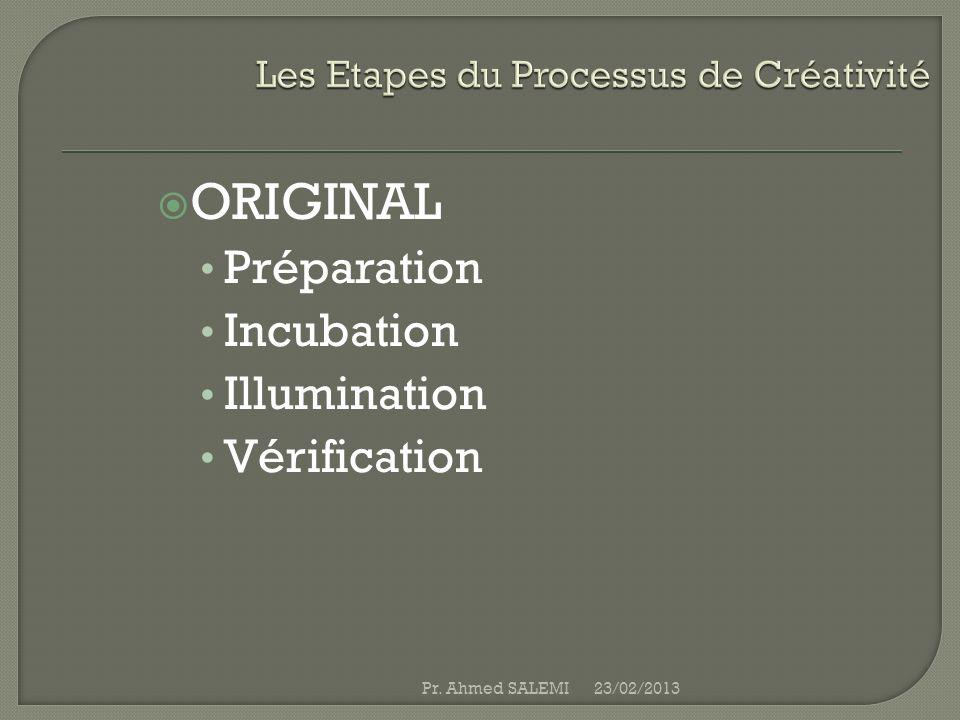 ORIGINAL Préparation Incubation Illumination Vérification 23/02/2013Pr. Ahmed SALEMI