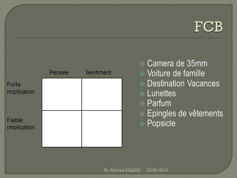 Camera de 35mm Voiture de famille Destination Vacances Lunettes Parfum Epingles de vêtements Popsicle 23/02/2013Pr. Ahmed SALEMI Forte Implication Fai