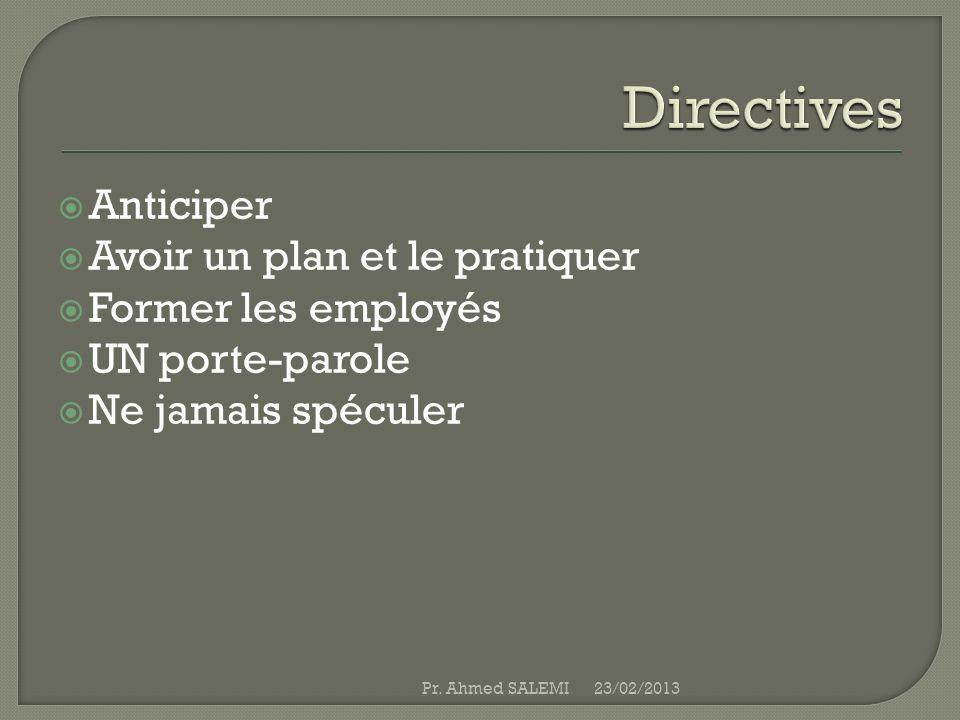 Anticiper Avoir un plan et le pratiquer Former les employés UN porte-parole Ne jamais spéculer 23/02/2013Pr. Ahmed SALEMI