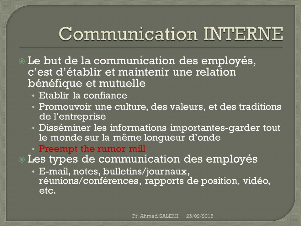 Le but de la communication des employés, cest détablir et maintenir une relation bénéfique et mutuelle Etablir la confiance Promouvoir une culture, de
