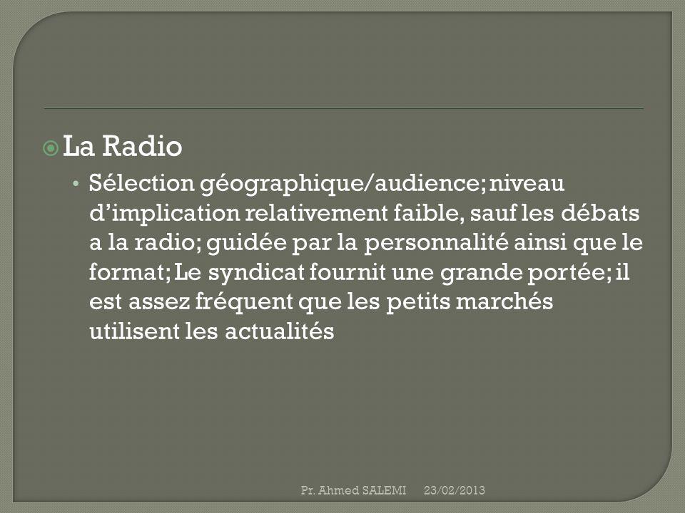 La Radio Sélection géographique/audience; niveau dimplication relativement faible, sauf les débats a la radio; guidée par la personnalité ainsi que le