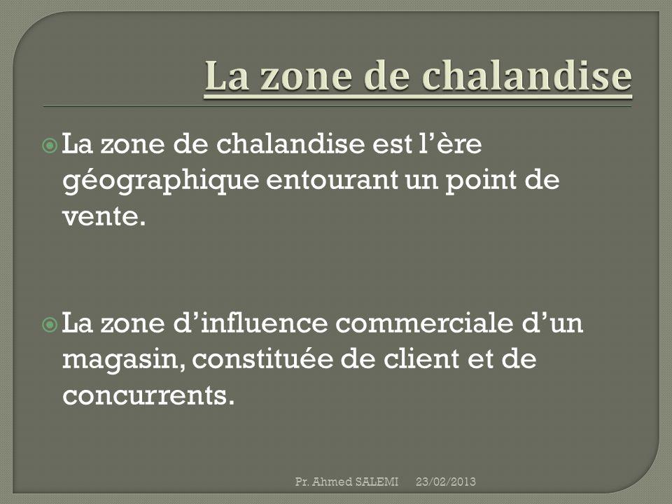 La zone de chalandise est lère géographique entourant un point de vente. La zone dinfluence commerciale dun magasin, constituée de client et de concur