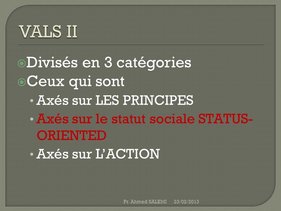 Divisés en 3 catégories Ceux qui sont Axés sur LES PRINCIPES Axés sur le statut sociale STATUS- ORIENTED Axés sur LACTION 23/02/2013Pr. Ahmed SALEMI