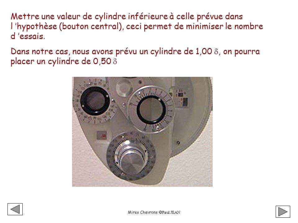 Mires Chevrons Paul JEAN Mettre une valeur de cylindre inférieure à celle prévue dans l hypothèse (bouton central), ceci permet de minimiser le nombre d essais.