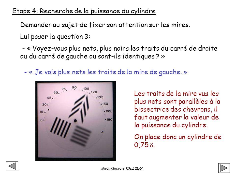 Mires Chevrons Paul JEAN Etape 4: Recherche de la puissance du cylindre Demander au sujet de fixer son attention sur les mires.