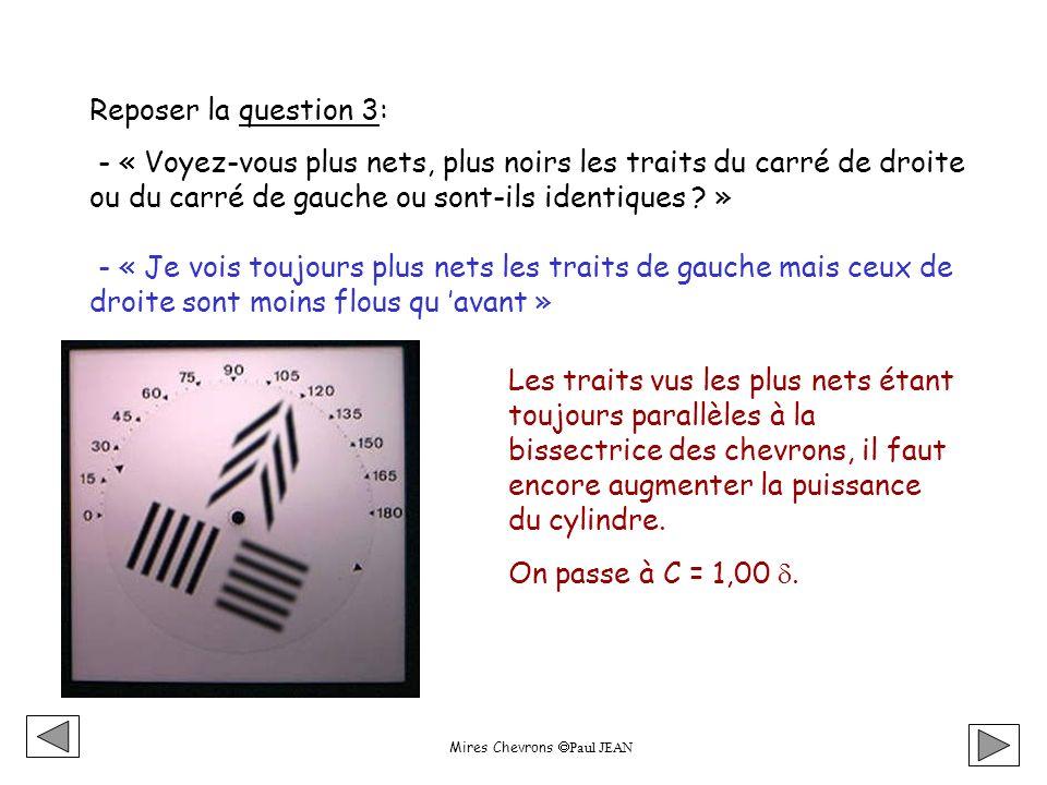 Mires Chevrons Paul JEAN Reposer la question 3: - « Voyez-vous plus nets, plus noirs les traits du carré de droite ou du carré de gauche ou sont-ils identiques .