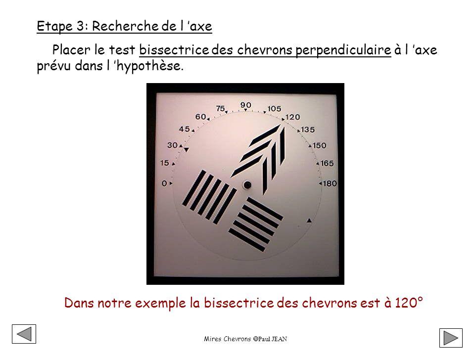 Mires Chevrons Paul JEAN Etape 3: Recherche de l axe Placer le test bissectrice des chevrons perpendiculaire à l axe prévu dans l hypothèse.