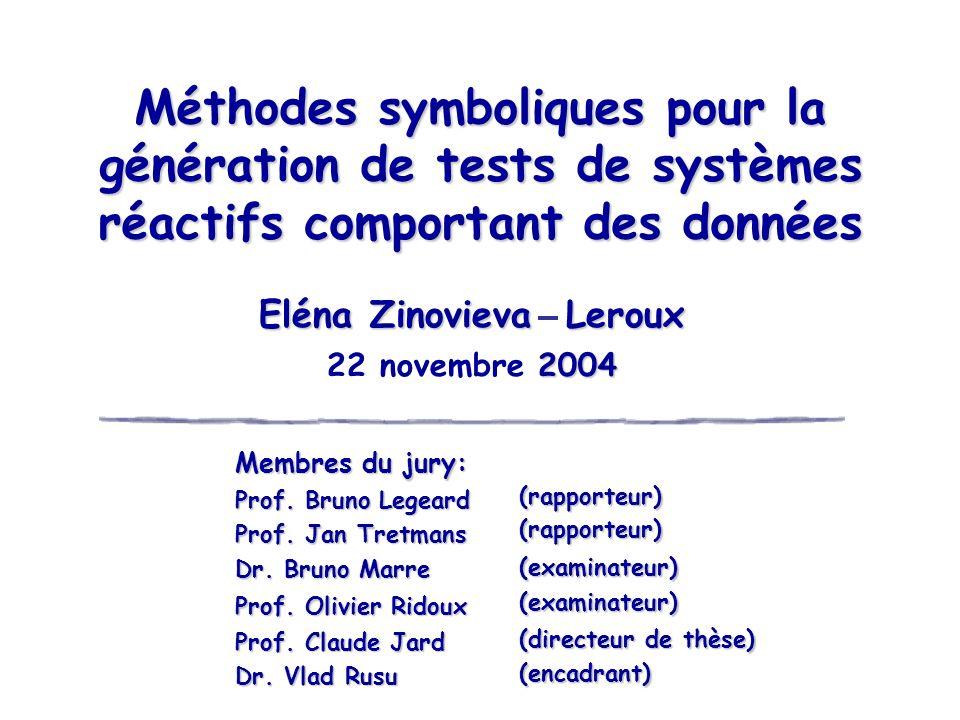 Méthodes symboliques pour la génération de tests de systèmes réactifs comportant des données Eléna Zinovieva Leroux 2004 22 novembre 2004 Membres du j