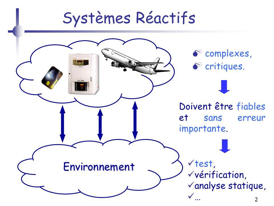 2 Systèmes Réactifs Environnement Environnement complexes, critiques. Doivent être fiables et sans erreur importante. test, vérification, analyse stat