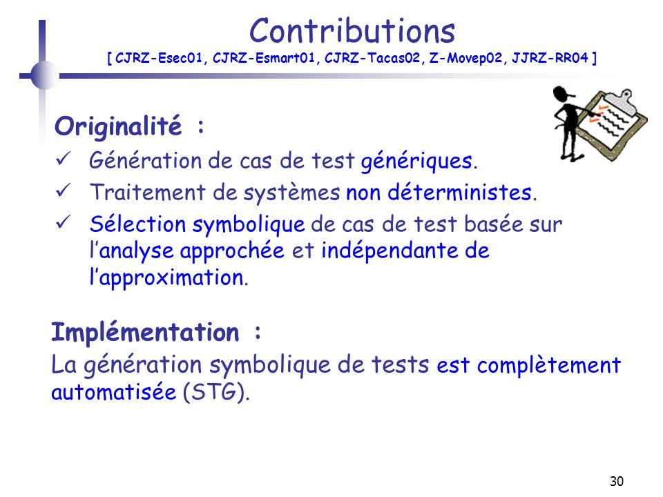 30 Contributions [ CJRZ-Esec01, CJRZ-Esmart01, CJRZ-Tacas02, Z-Movep02, JJRZ-RR04 ] Originalité : Génération de cas de test génériques. Traitement de