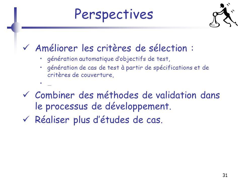 31 Perspectives Améliorer les critères de sélection : génération automatique dobjectifs de test, génération de cas de test à partir de spécifications