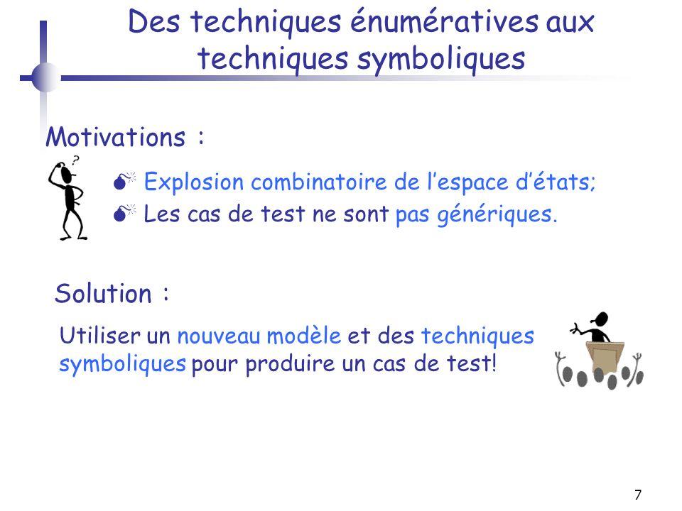7 Des techniques énumératives aux techniques symboliques Explosion combinatoire de lespace détats; Les cas de test ne sont pas génériques. Motivations
