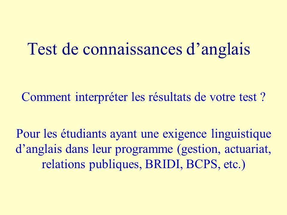 Test de connaissances danglais Comment interpréter les résultats de votre test ? Pour les étudiants ayant une exigence linguistique danglais dans leur