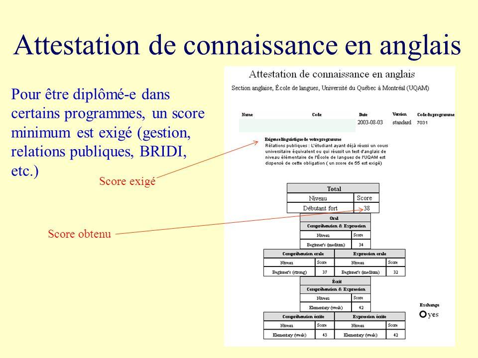 Attestation de connaissance en anglais Pour être diplômé-e dans certains programmes, un score minimum est exigé (gestion, relations publiques, BRIDI,