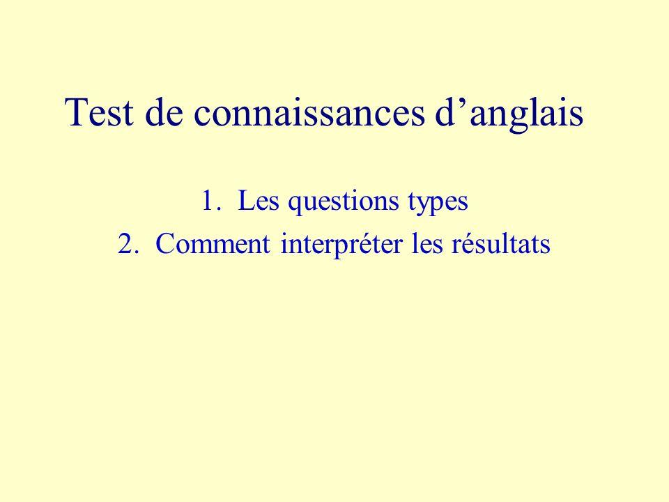 Test de connaissances danglais 1.Les questions types 2.Comment interpréter les résultats