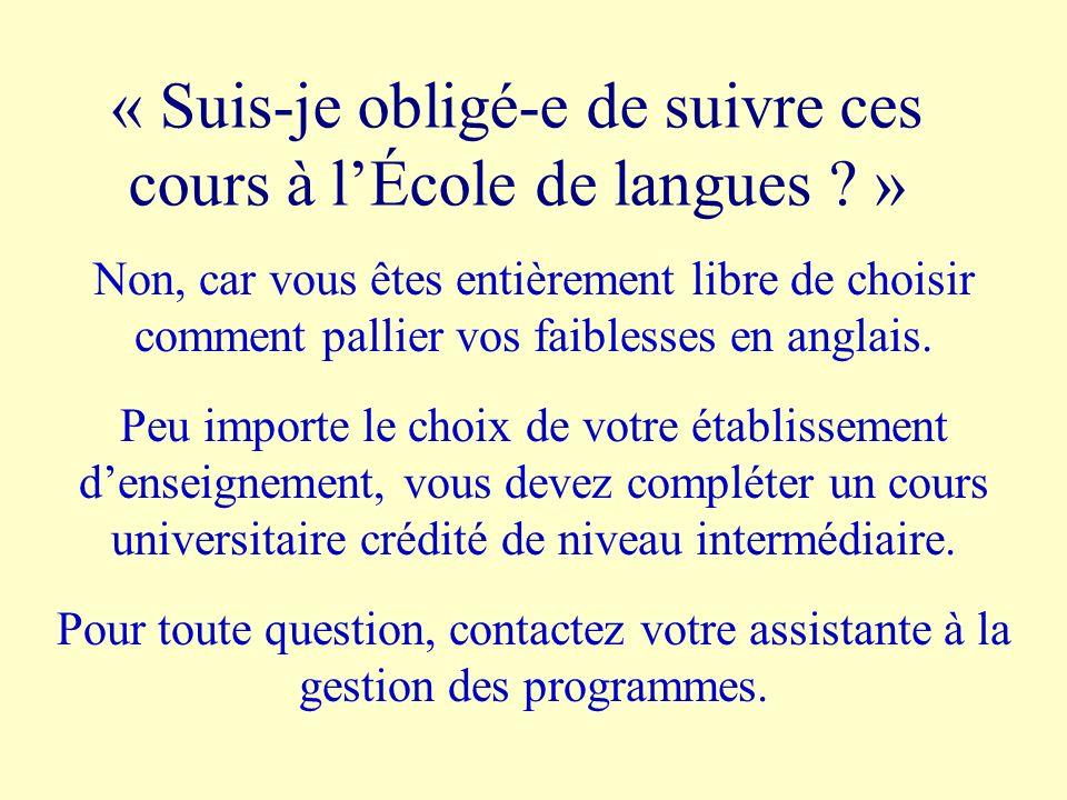 « Suis-je obligé-e de suivre ces cours à lÉcole de langues ? » Non, car vous êtes entièrement libre de choisir comment pallier vos faiblesses en angla