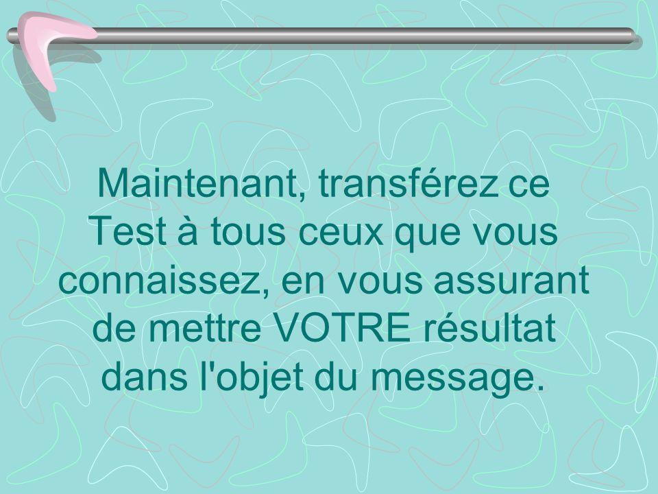 Maintenant, transférez ce Test à tous ceux que vous connaissez, en vous assurant de mettre VOTRE résultat dans l'objet du message.