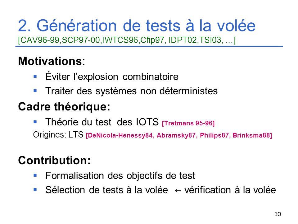 10 2. Génération de tests à la volée [CAV96-99,SCP97-00,IWTCS96,Cfip97, IDPT02,TSI03, …] Motivations: Éviter lexplosion combinatoire Traiter des systè
