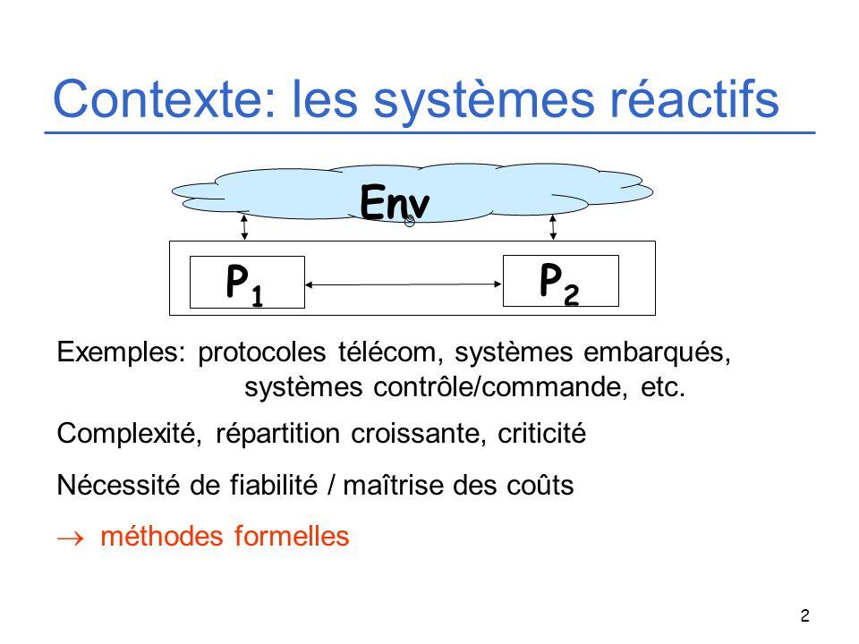 3 Spécification comportementale: exemple du protocole du bit alterné Transmitter Receiver RQ(data) CNF IND(data) w s d:=0 b:=0 ?RQ(d)/ !DT(d,b) br bit ?ACK(br) / !DT(d,b) br = b ?ACK(br) / !CNF b:=1-b b:=0 s br = b ?DT(d,br) !IND(d) !ACK(b) b:=1-b br bit ?DT(d,br) !IND(d) !ACK(b) b:=1-b ACK(bit) DT(data,bit) Processus concurrents, communication (interne-externe), structure de contrôle, données.