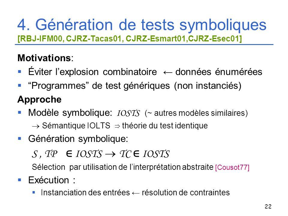 22 4. Génération de tests symboliques [RBJ-IFM00, CJRZ-Tacas01, CJRZ-Esmart01,CJRZ-Esec01] Motivations: Éviter lexplosion combinatoire données énuméré